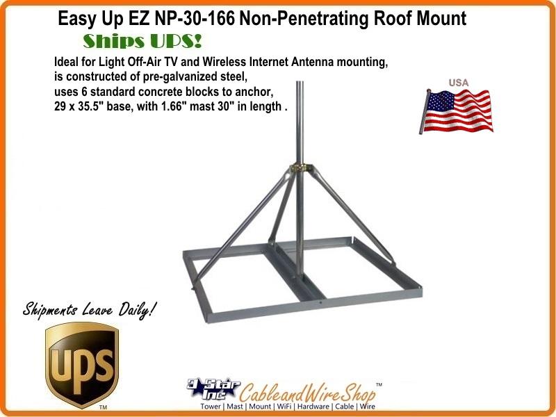 Non Penetrating Antenna Roof Mount 30 X 1 66 Od Mast Ez Np
