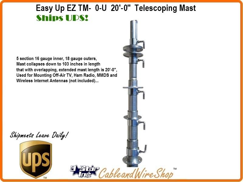20 ft Telescopic Antenna Mast Push-Up Pole Ships UPS EZ TM-50-5U