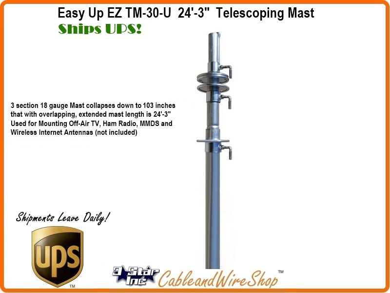 30 ft telescopic antenna mast push up pole ships ups ez tm 30 u. Black Bedroom Furniture Sets. Home Design Ideas