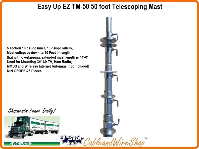 50 Ft Telescopic Antenna Mast Push Up Pole Ez Tm 50