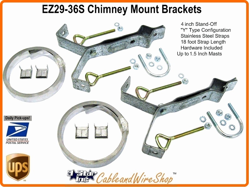 Chimney Mount Antenna Bracket 24 Ft Stainless Straps Ez 29 24s