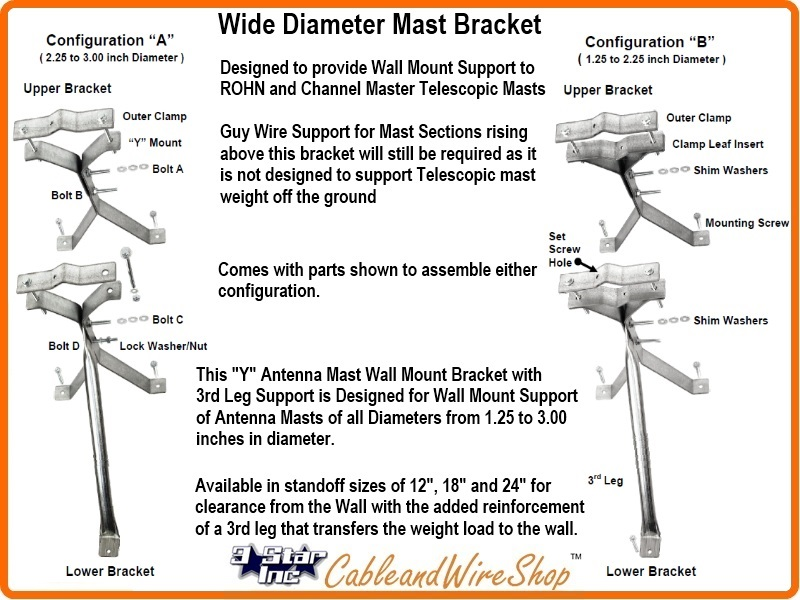 Telescopic mast pole bracket wall mount 18 standoff ez 30 18w click here for larger image keyboard keysfo Gallery