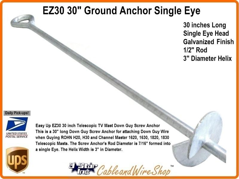 30 Inch Screw Anchor For Telescopic Mast Down Guy Hdg Ez 30