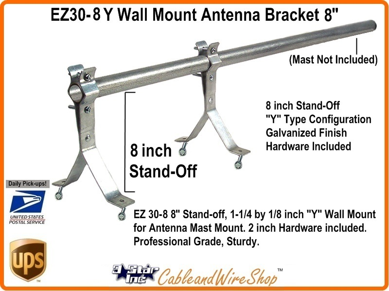 Tv Antenna Mast Bracket Wall Mount 8 Inch Standoff Ez 30 8