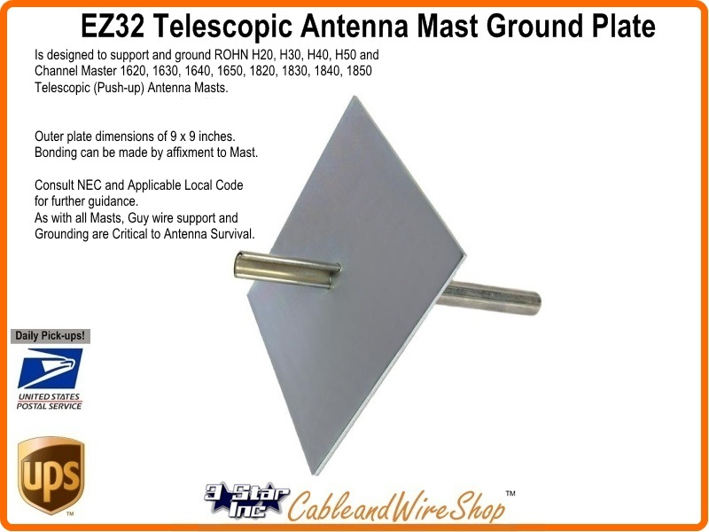 Push Up Antenna Masts Easy Up EZ-32A Heavy Duty Ground Mount for Telescopic
