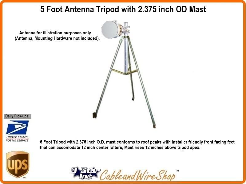 5 Ft Tripod Antenna Roof Mount With 2 1 4 Od Mast Pipe Easy Up