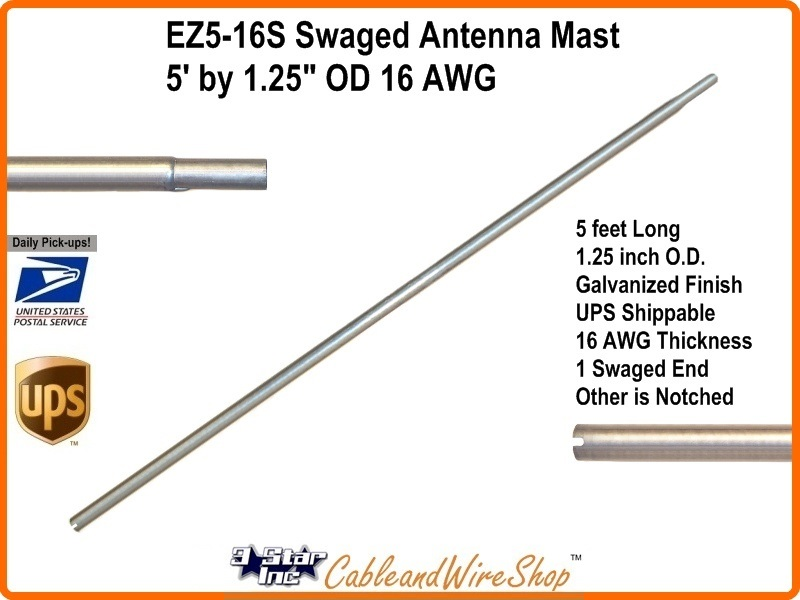 5 Foot Swaged Antenna Mast Pole 1 25 OD x 60 inch 16 AWG