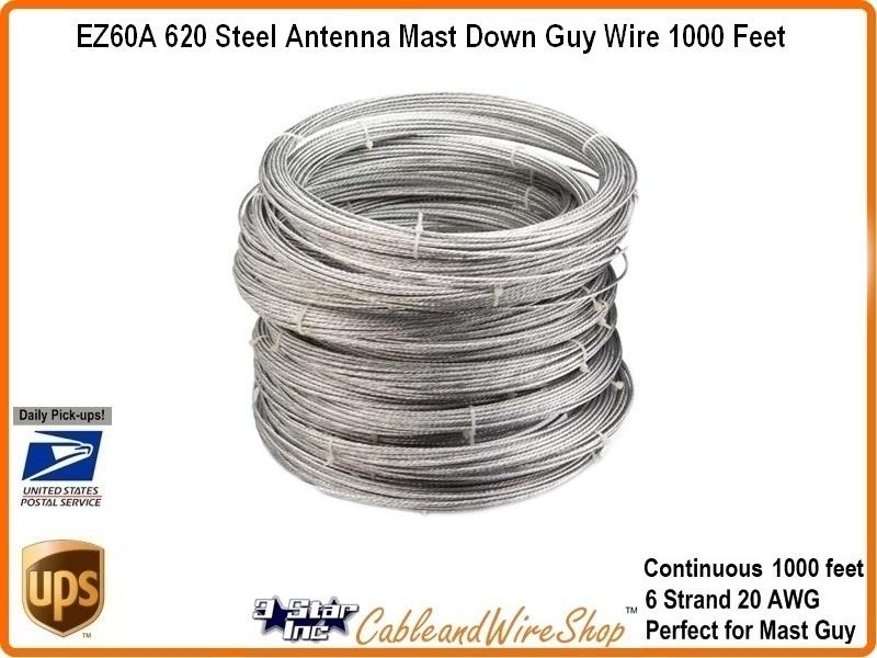 620 antenna mast guy wire galvanized 1000ft ez 60a. Black Bedroom Furniture Sets. Home Design Ideas