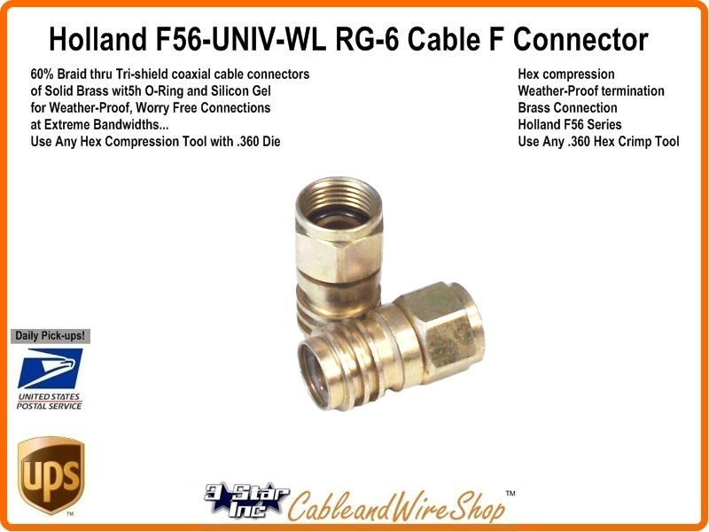 Coax Cable Connector Termination : Rg tri shield coax weatheproof f connector univ wl