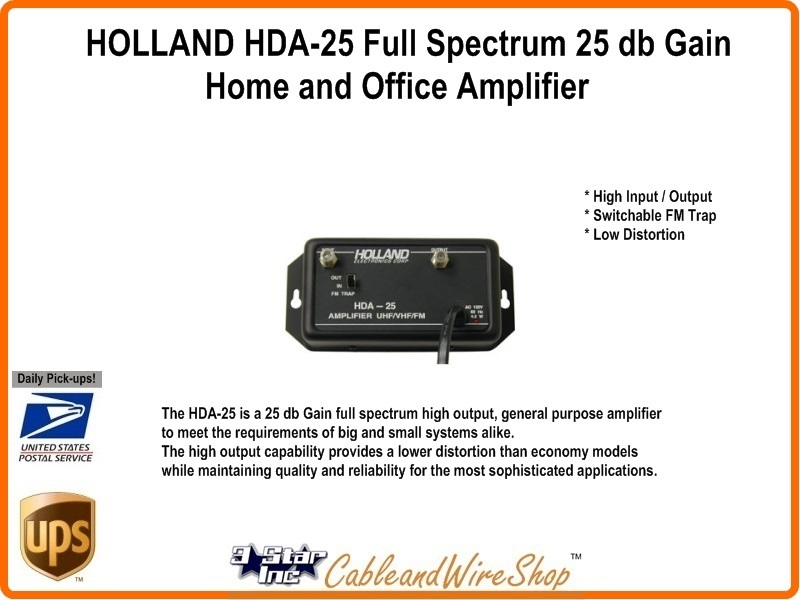 Cable Tv Antenna Signal Amplifier 25db Holland Electronics