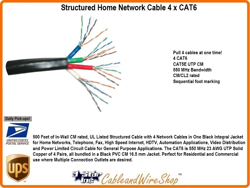 Bundled Cable Network Wiring (4)Cat6 500 Ft