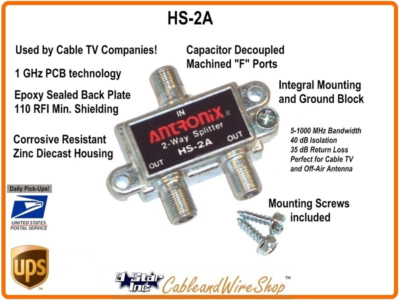 2-Way 1GHz Cable TV Antenna Signal Splitter Antronix HS-2A