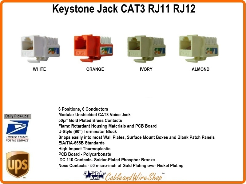 keystone jack cat3 insert rj11 rj12 u style almond 103 al. Black Bedroom Furniture Sets. Home Design Ideas
