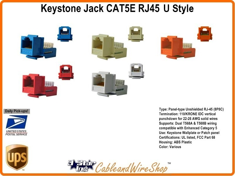 keystone jack cat5e insert rj45 module h style red. Black Bedroom Furniture Sets. Home Design Ideas