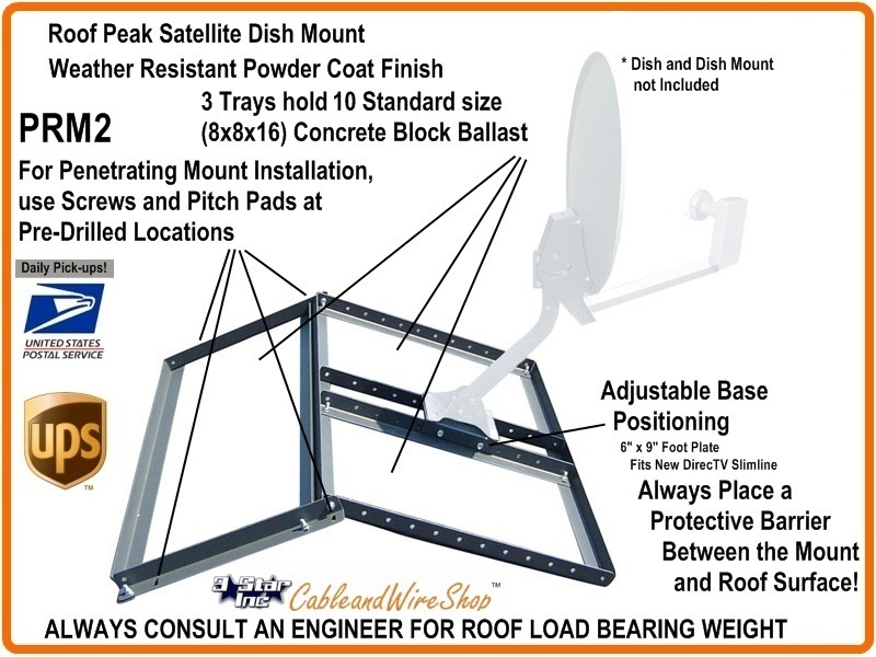 Non Penetrating Satellite Dish Antenna Mount On Peak