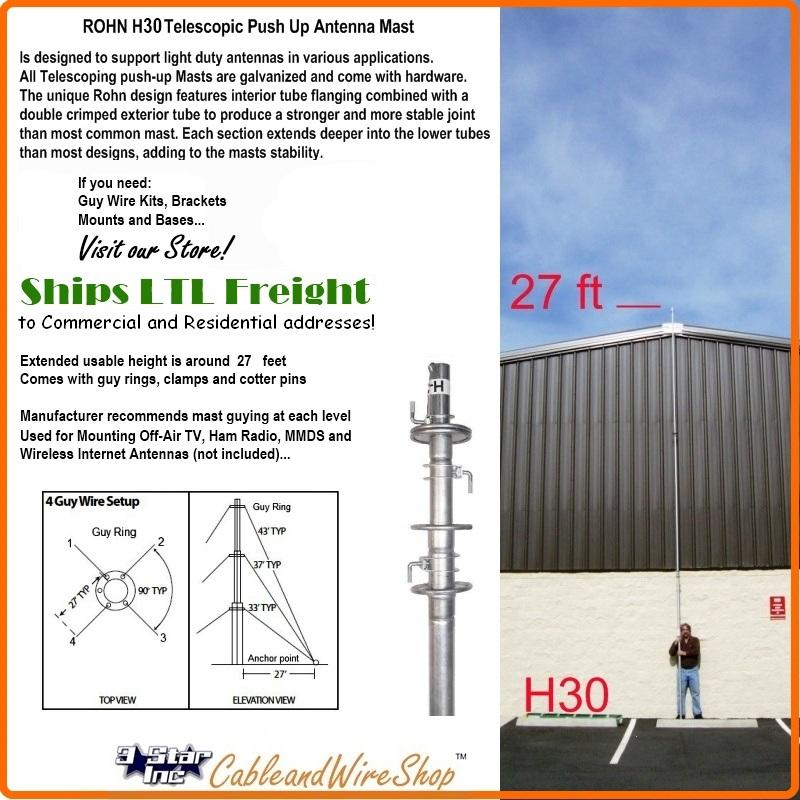 Rohn H30 30 Ft Telescopic Antenna Tv Ham Mast Push Up Pole