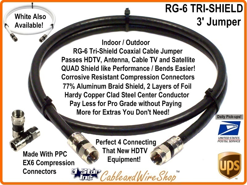 Rg6 Coax 3 Ft Patch Cable Jumper With F Type Connector