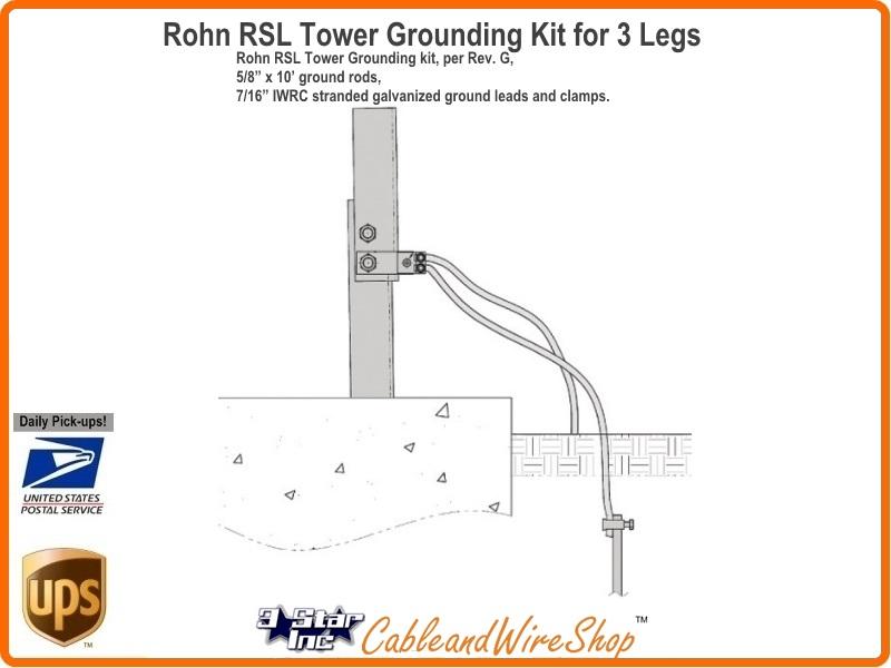 Rohn Rgkg 1 Grounding Kit For Rsl Tower Base Section 1 Leg