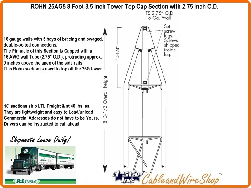 ROHN 25AG5 25G Tower Top Cap Section