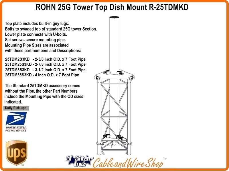 Rohn 25tdm25s3kd 25g Tower Top Dish Mount 2 7 8 Inch Od Mast
