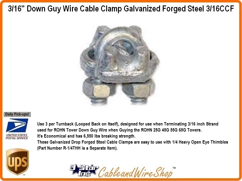 3/16 inch Forged Steel Cable Clamp for Tower Guy Wire 3/16CCF