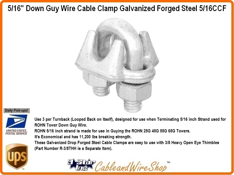 5/16 inch Forged Steel Cable Clamp for Tower Guy Wire 5/16CCF