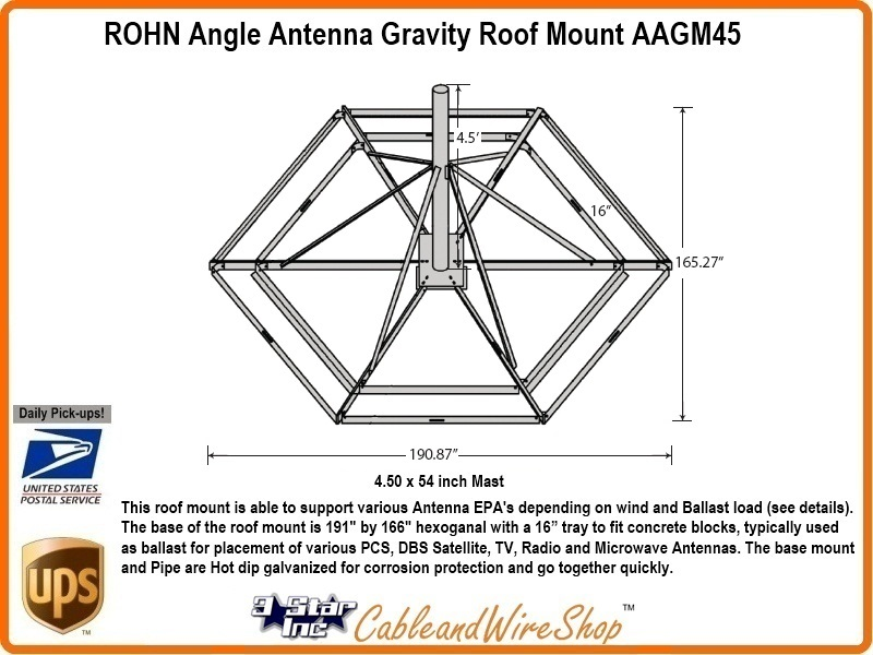 ROHN AAGM45 Non-Penetrating Roof Mount 4-1/2 OD Antenna Mast