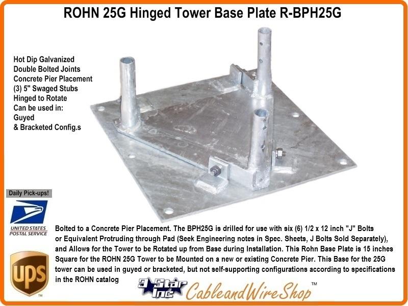 Rohn Bph25g 25g Tower Hinged Base Plate