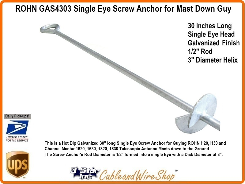 Down Guy Screw Anchor For Telescopic Mast 30 Inch Rohn Gas4303