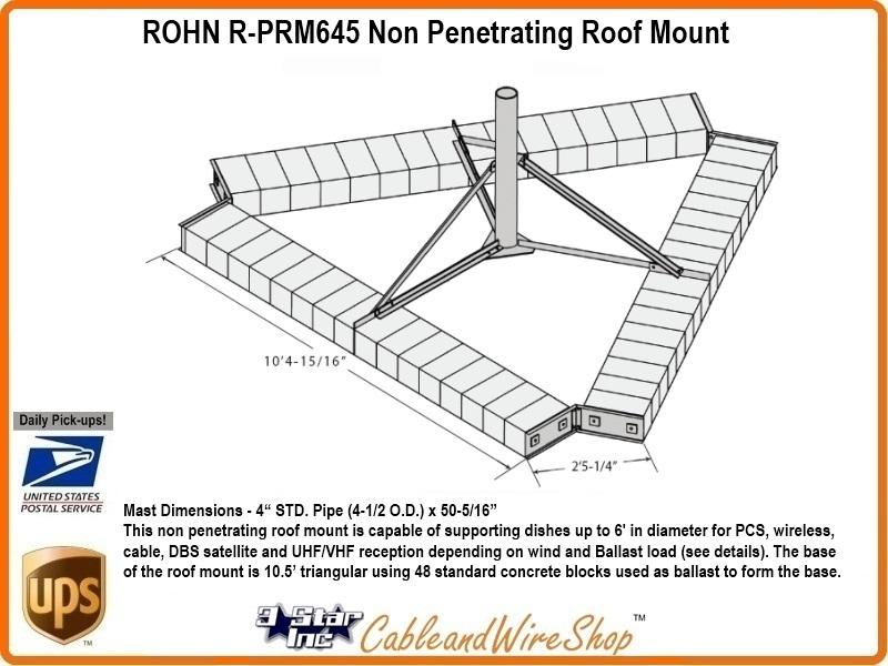 Rohn Prm645 Non Penetrating Roof Mount 4 1 2 Od Antenna Mast