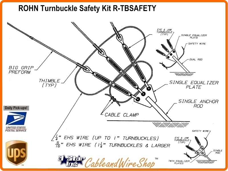 Rohn Tbsafety Turnbuckle Safety Kit For All Tower Down Guy