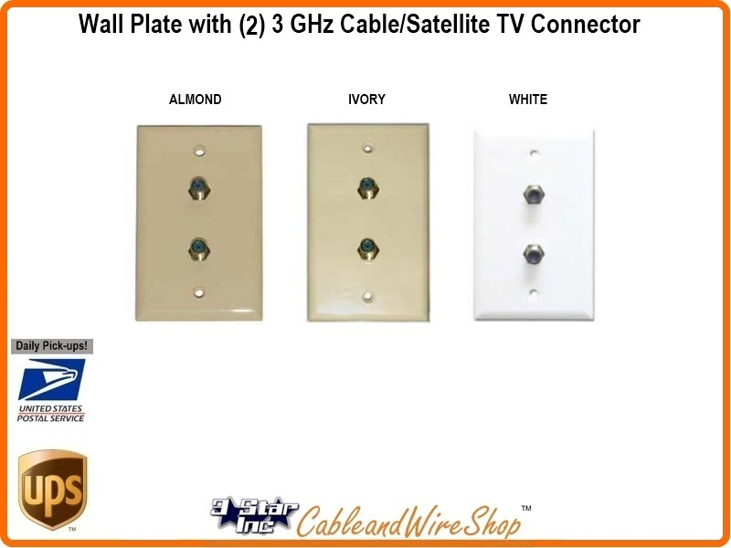 dual satellite cable tv f port wall plate