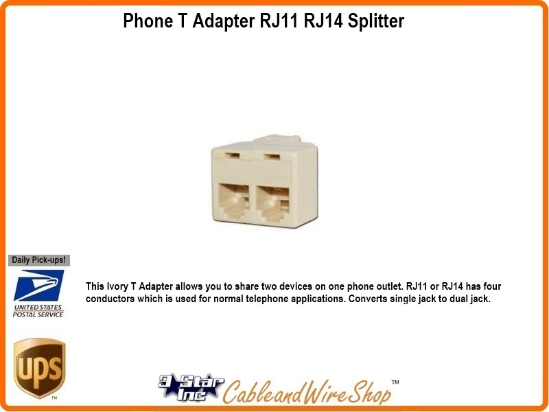 2 way telephone line t adaptor rj11 rj14 splitter 20852
