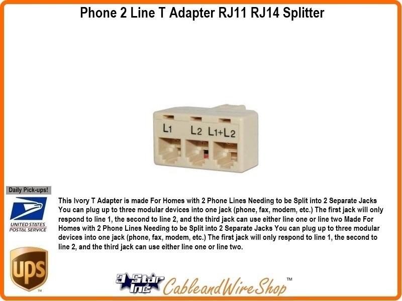 2 line 3 way phone t adaptor rj11 rj14 splitter ivory 20854. Black Bedroom Furniture Sets. Home Design Ideas