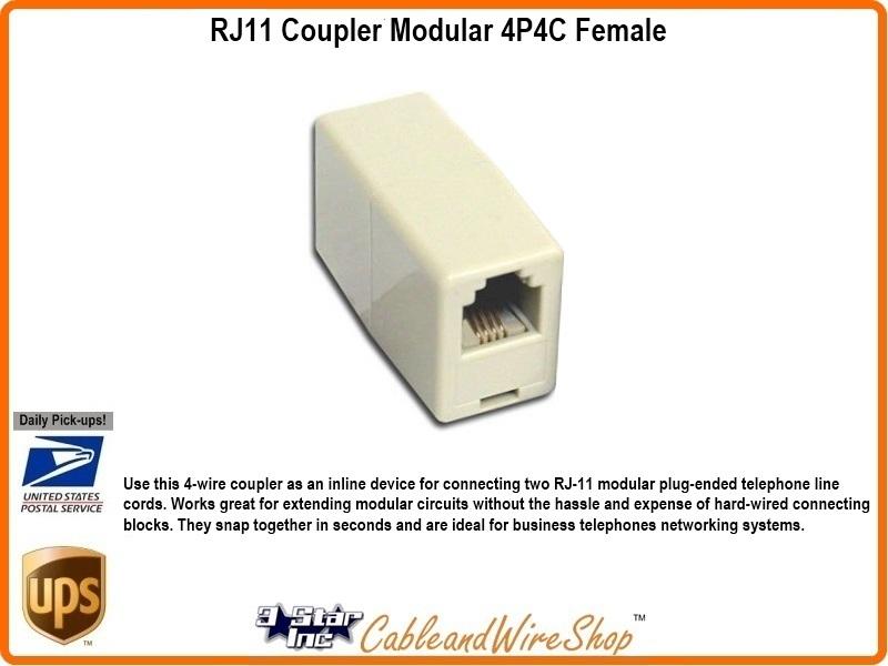 RJ11 Coupler Modular 4P4C Female Splice Connection 20858