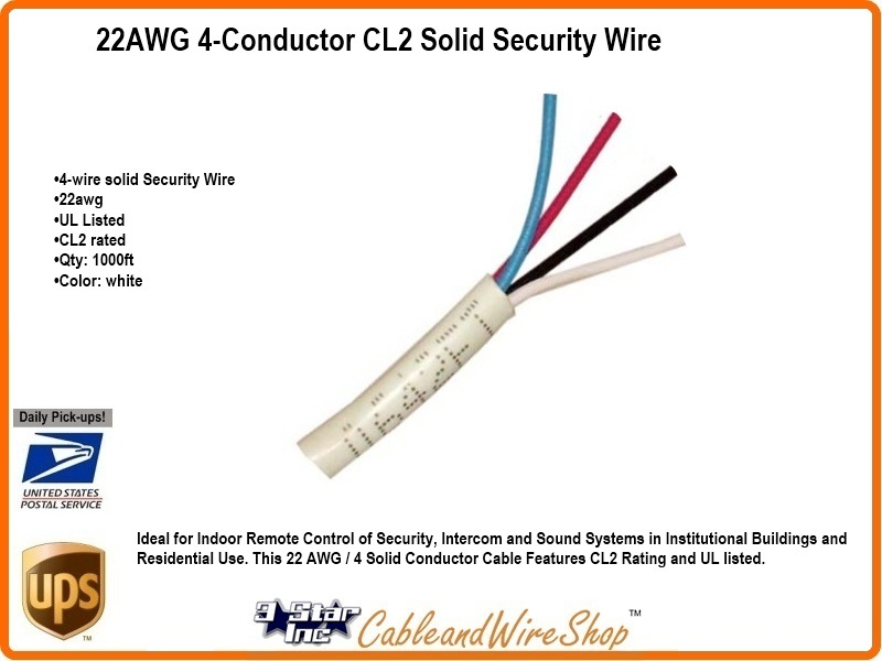 4 Conductor 22AWG Solid Bare Copper CL2 Security Wire Cable 1000ft