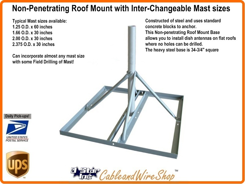 Non Penetrating Roof Mount Fits Hughesnet Direcway Starband