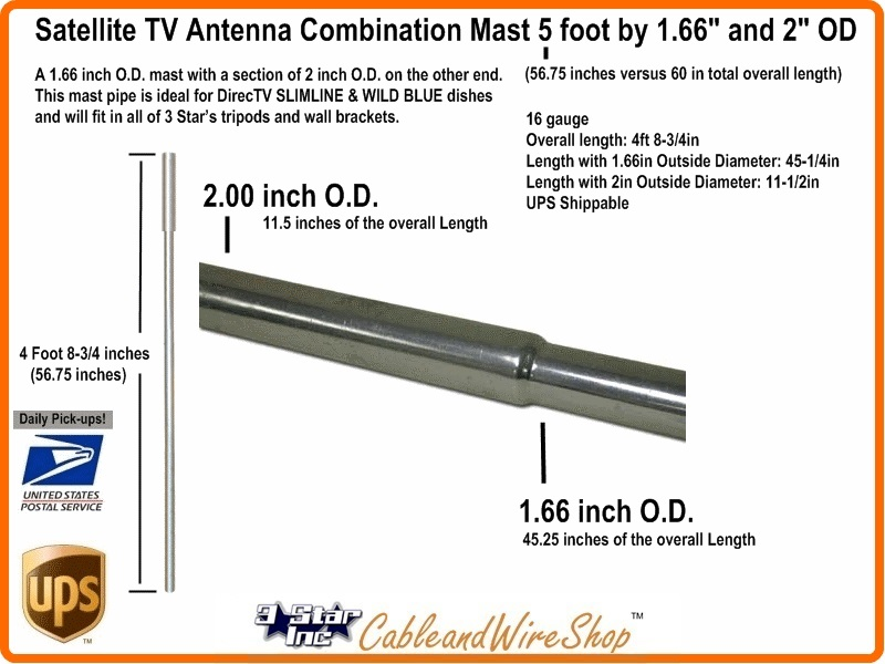 Combination Satellite Dish Antenna Mast Pole 5 Ft X 1 66 2