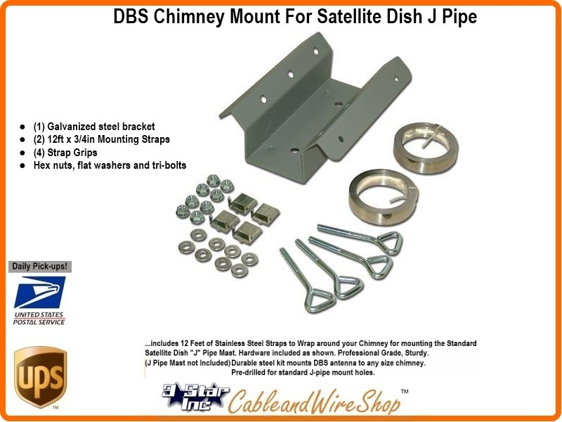 Satellite Dish Chimney Mount Bracket Kit For J Pipe Sky6001