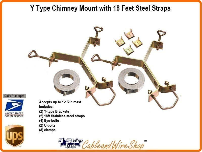 Antenna Mast Chimney Mount 18 Ft Steel Straps Y Type Sky6027