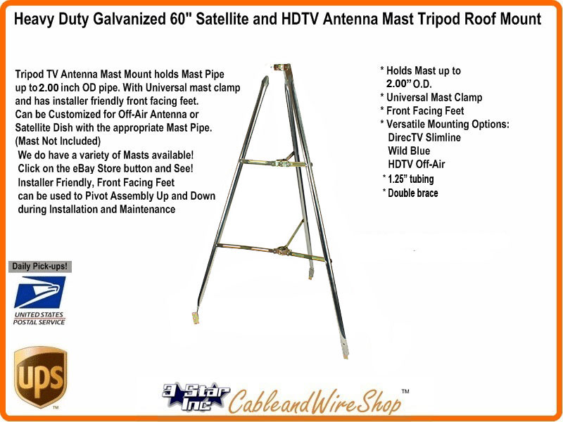 5 Ft Tripod Antenna Roof Mount For 2 00 Od Mast Pole Sky6046