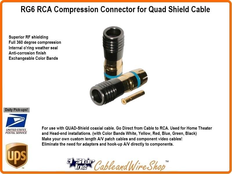 Rg6 Quad Shield Coax Rca Compression Connector Sky9914