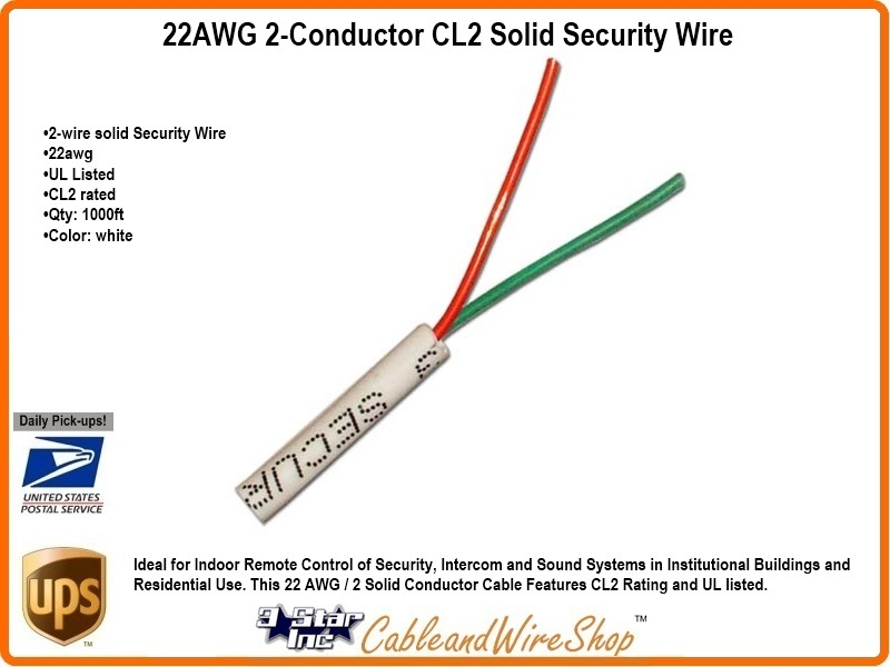 2 Conductor 22AWG Solid Bare Copper CL2 Security Wire Cable 1000ft