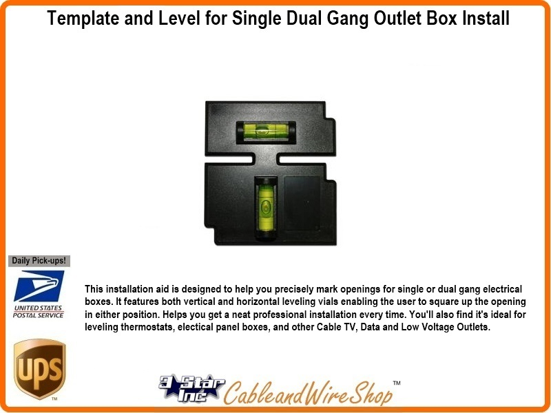 Template and Level for Single Dual Gang Outlet Box Install