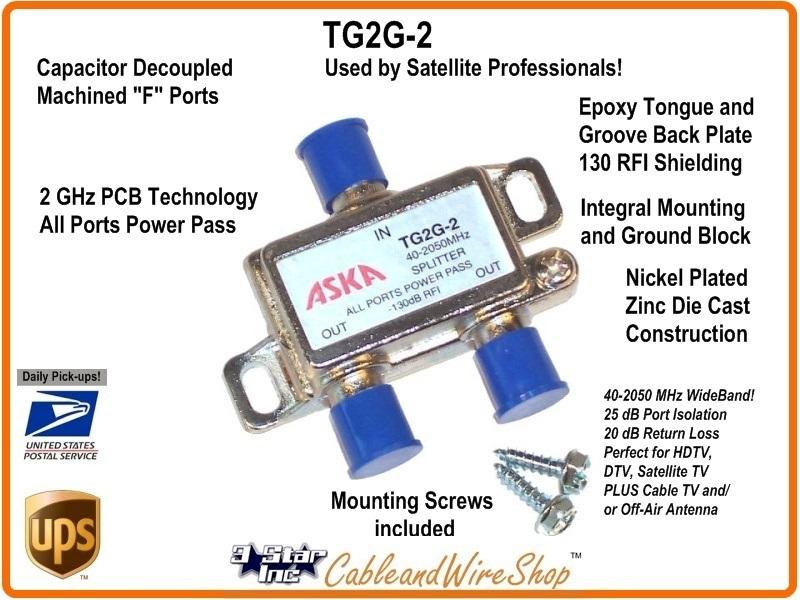 ASKA TG2G-2DC 2-Way Wideband Satellite Splitter 1 Port Power Passive Combiner