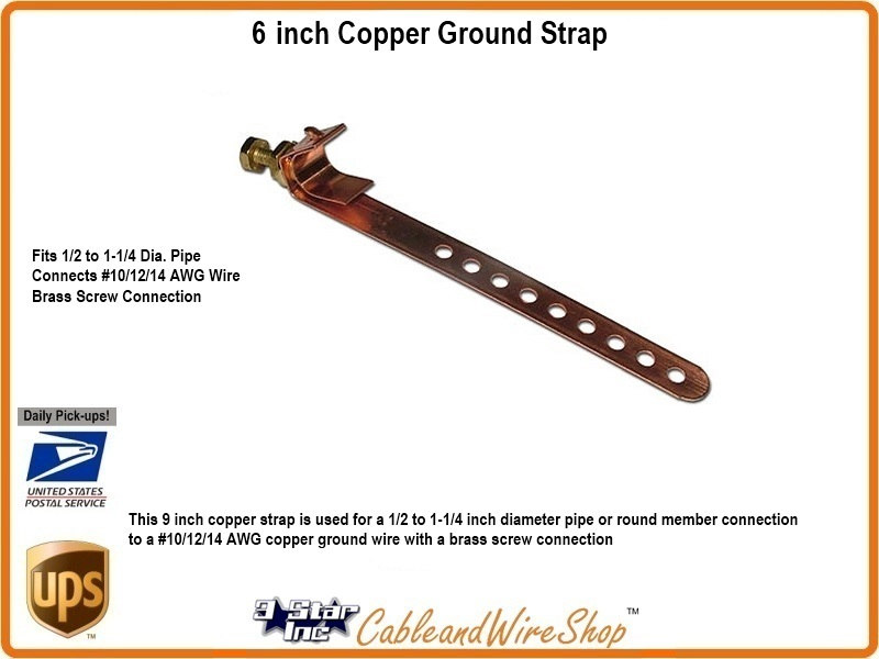 TNB4008 6 inch Copper Ground Strap is DISH Network Approved